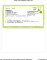Recipe Card Template