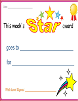 Star Award Certificate
