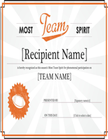 Team Award Certificate