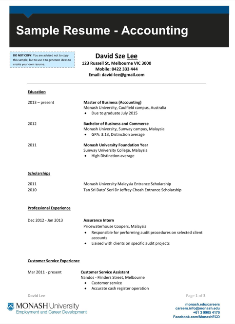 Accounting Masters Resume