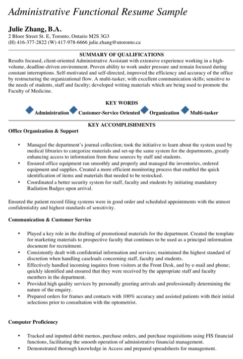 Administrative Functional Resume Sample
