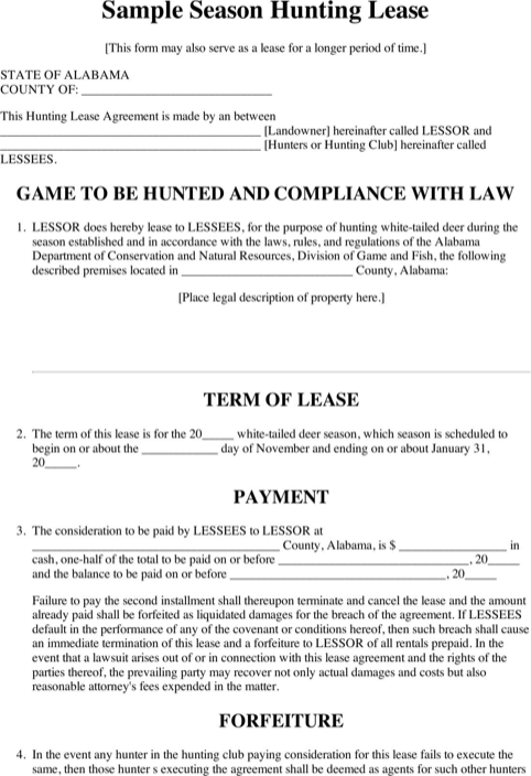 Alabama Season Hunting Lease Form