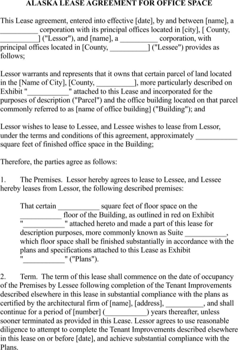 Download Alaska Rental Agreement For Free Formtemplate