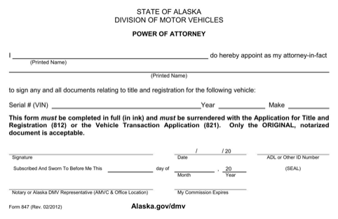 Alaska Motor Vehicle Power of Attorney Form