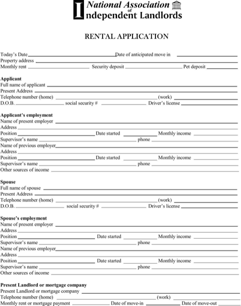 Alaska Rental Application Form