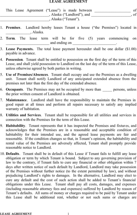 Alaska Residential Lease Agreement Form