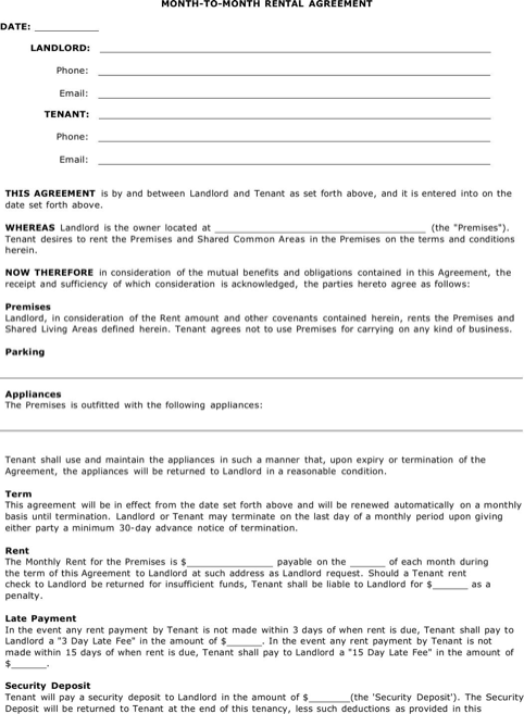 Arizona Month to Month Agreement Form
