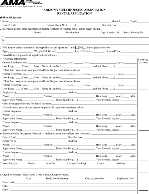 Arizona Rental Application Form