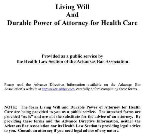 Arkansas Living Will and Durable Power of Attorney for Health Care Form