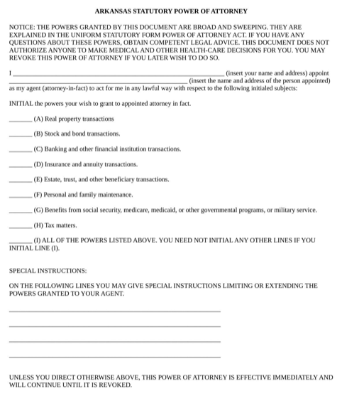 Arkansas Statutory Power of Attorney Form