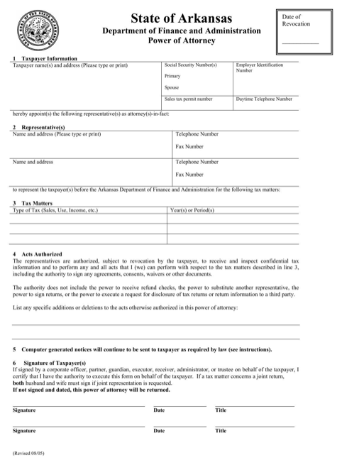 Arkansas Tax Power of Attorney Form