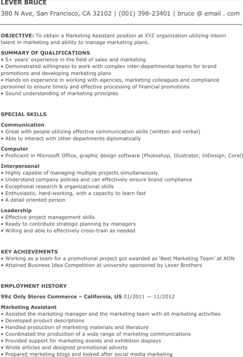 Assistant Marketing Coordinator Resume