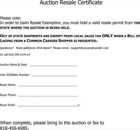 Auction Resale Certificate