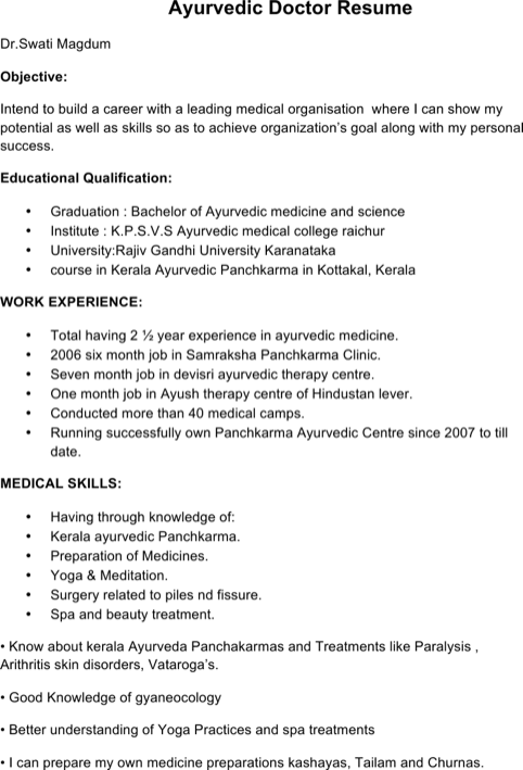 Ayurvedic Doctor Resume Template