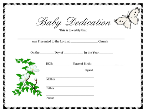 Baby Dedication Certificate 1