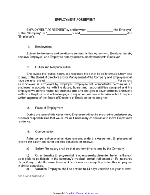 Basic Employment Agreement Template