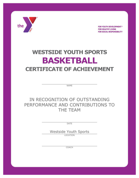 Basketball Certificate of Achievement