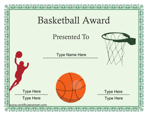 Download Basketball Sports Certificates For Free Formtemplate