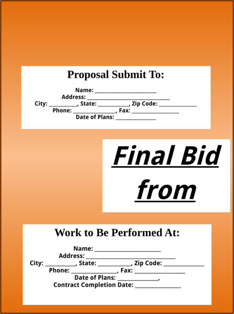 download bid proposal template for free formtemplate