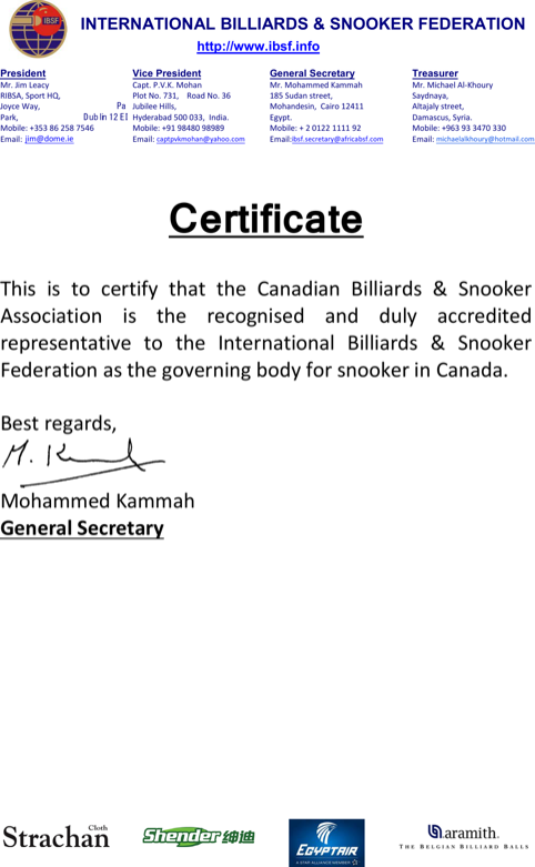 Billiard and Snooker Certificate