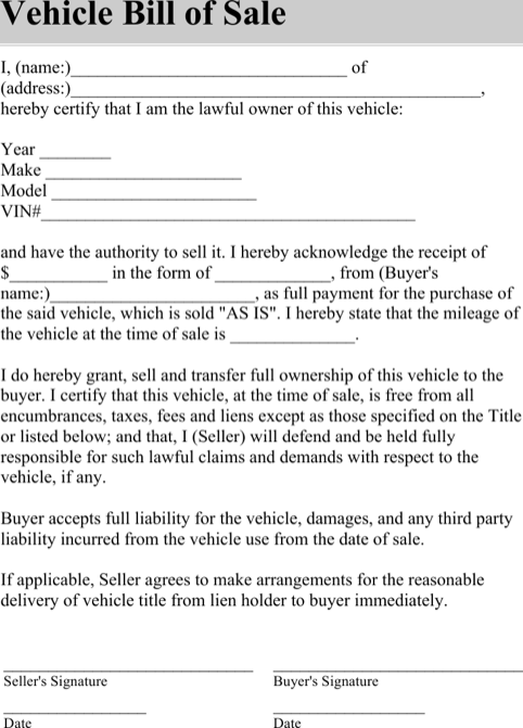 Blank Automobile Bill Of Sale