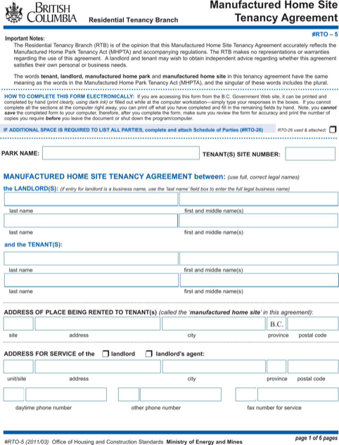 British Columbia Manufactured Home Site Tenancy Agreement Form