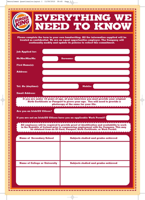 Burger King Job Application Form