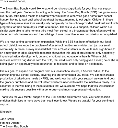 Business Donation Email