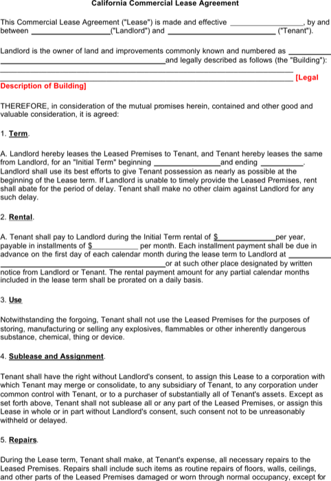 Business Lease Template