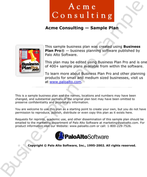 Business Plan Pro Sample