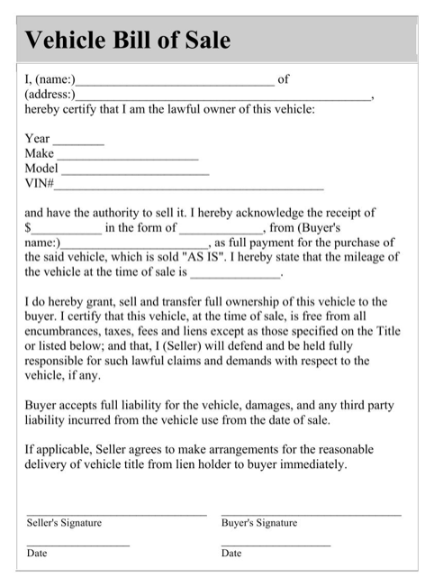 Car Bill of Sale Doc