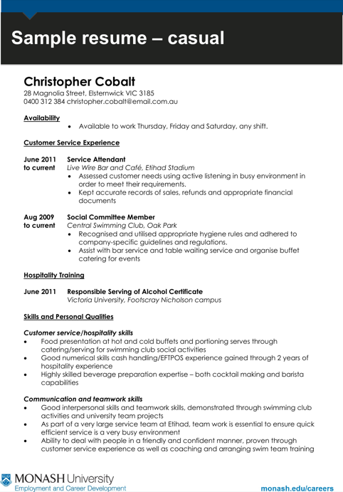 Casual Work Resume Template