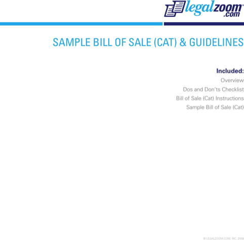 Cat Bill of Sale