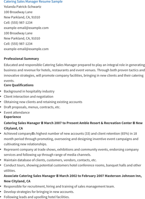 Catering Sales Manager Resume