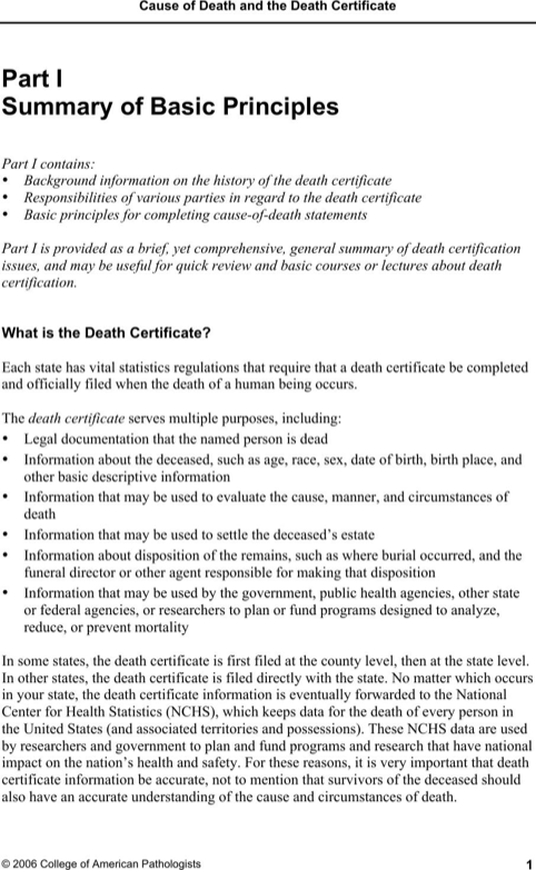 Cause of Death and the Death Certificate Form
