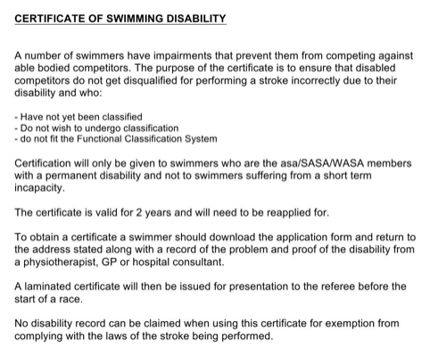 Certificate of Swimming Disability