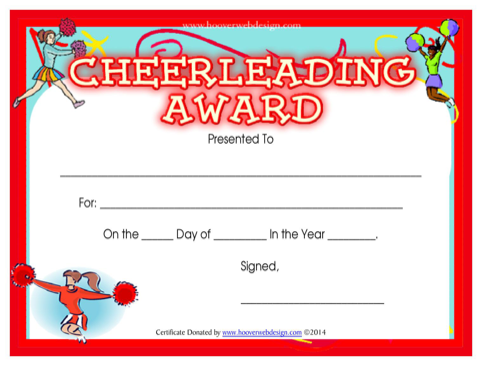 Cheerleading Award Certificate