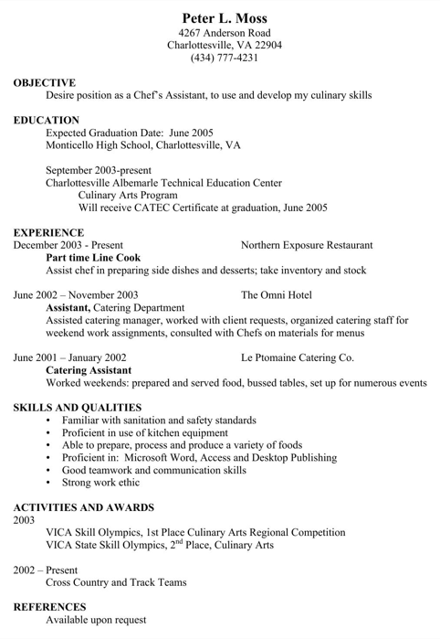 Chef Assistant Resume