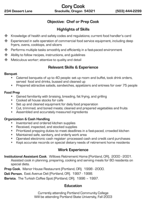 Chef or Prep Cook Resume