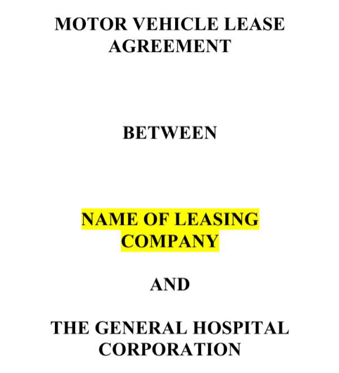 Motor Vehicle Lease Agreement