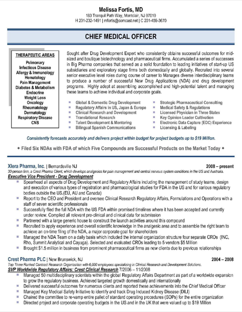 Chief Medical Officer Resume Sample - Medical Affairs