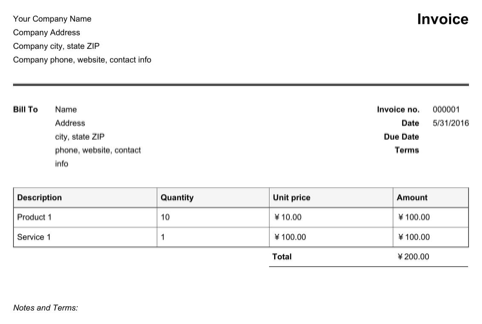 Chinese Invoice Template Fapiao
