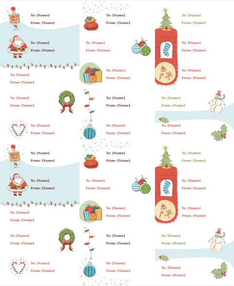 Christmas Gift Tag Label Template