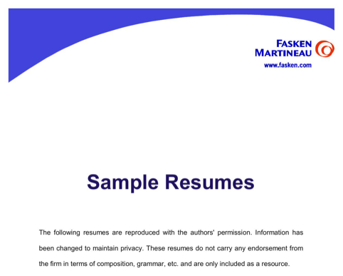 Chronological Sample Resumes