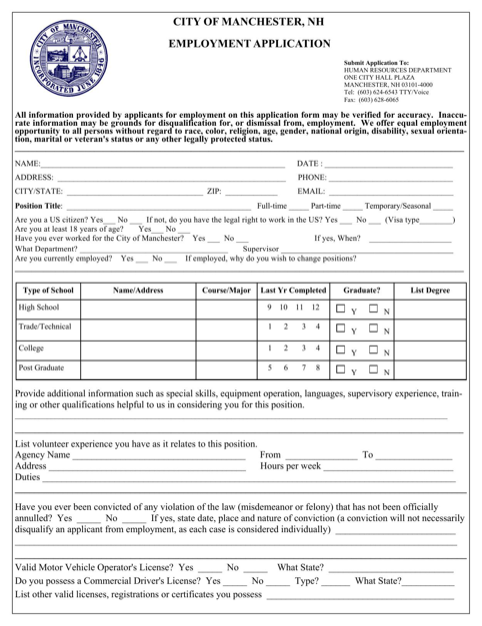 Download New Hampshire Job Application Form for Free
