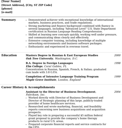 College Graduate Functional Resume