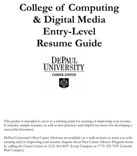 College of Computing & Digital Media Entry-Level Resume Guide