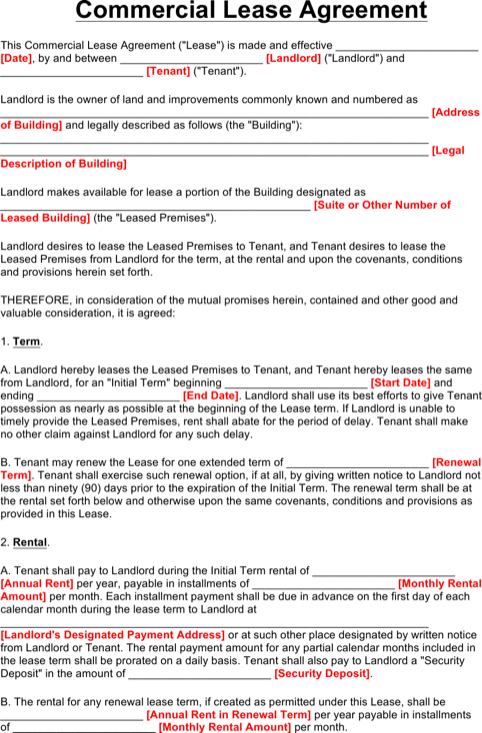Commercial Lease Template Word