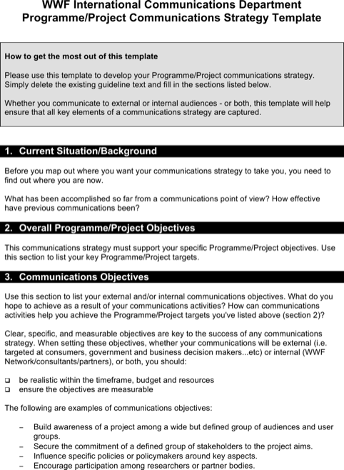 Communication Strategy Template Another Copy