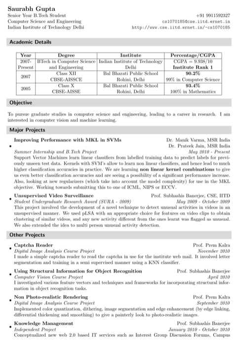 Computer Science and Engineering Resume Template